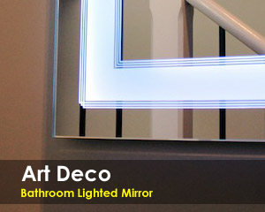 Art Deco Bathroom Lighted Mirror Vanity Led By