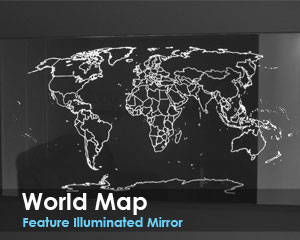 World Map Feature Illuminated Mirror
