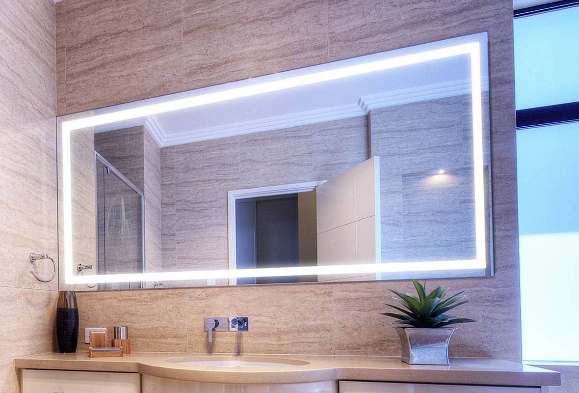 Firstlight Slimline Led Bathroom Wall Light In White: Verge Bathroom Lighted Mirror
