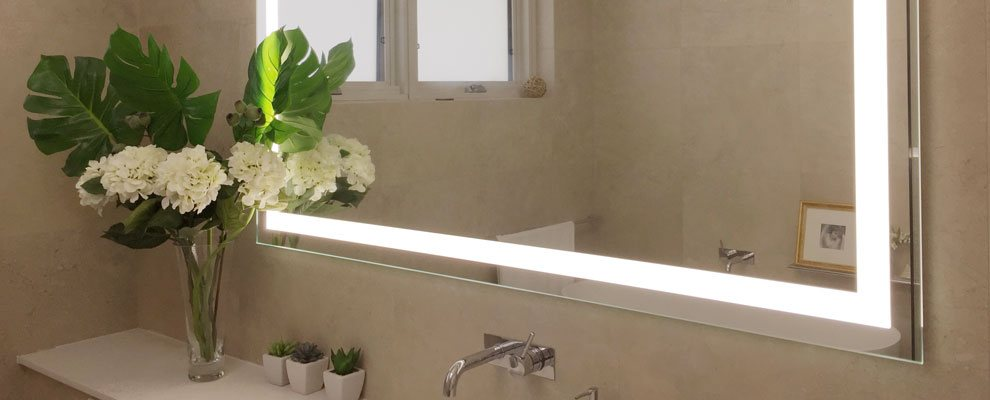 Halo Wide Led Light Bathroom Mirror: Illuminated Mirrors Australia