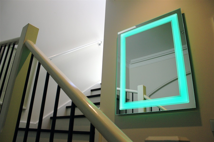 Art Deco Bathroom Lighted Mirror, green light on