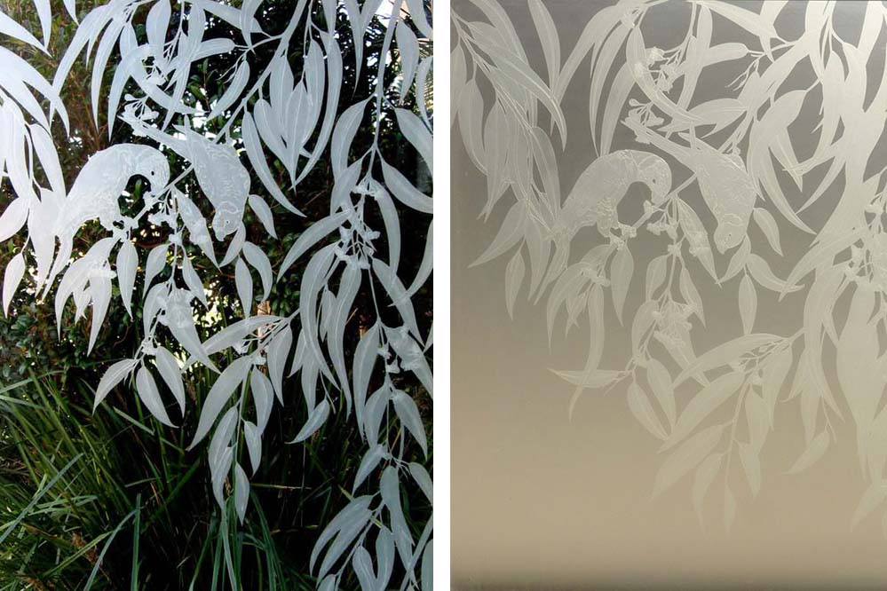 Sandblasted frosted glass window of birds on transparent and opaque glass