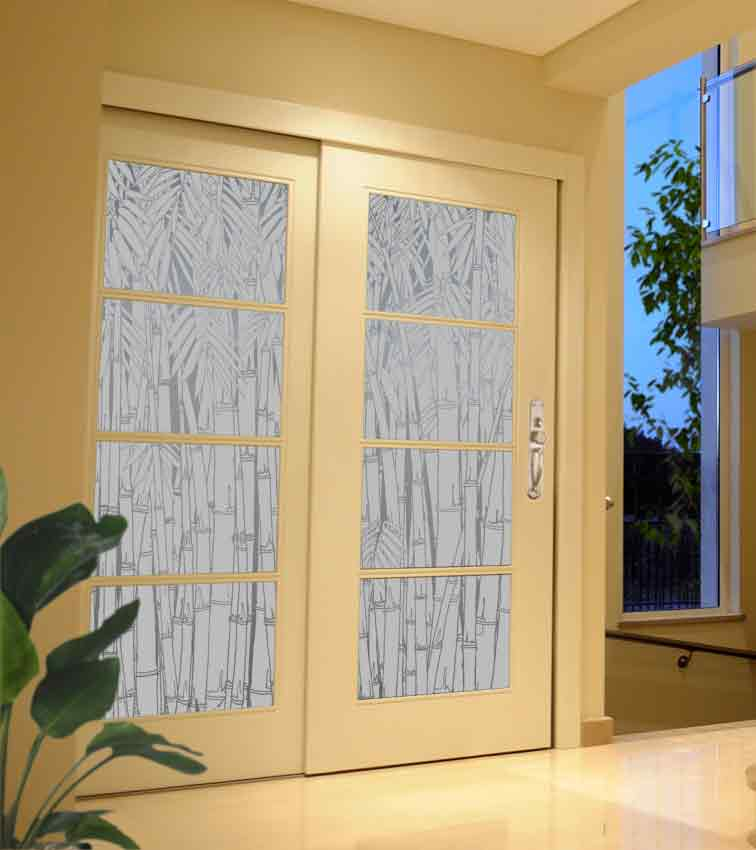 Bamboo design sandblasted onto opaque frosted glass doors