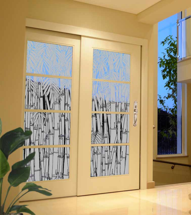 Bamboo design sandblasted onto transparent frosted glass doors