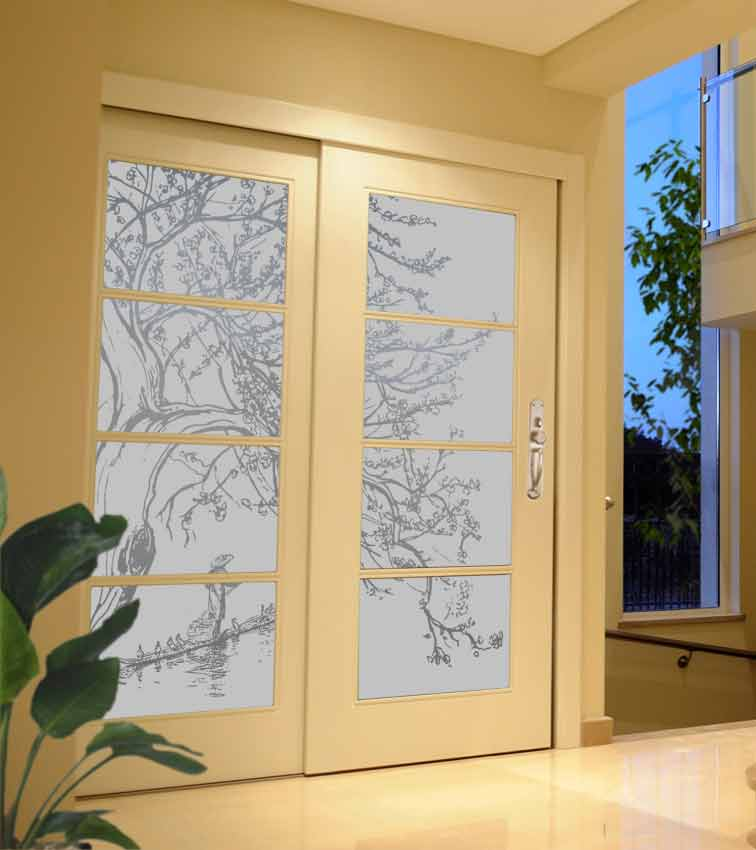 Asian Tree design sandblasted onto opaque frosted glass doors