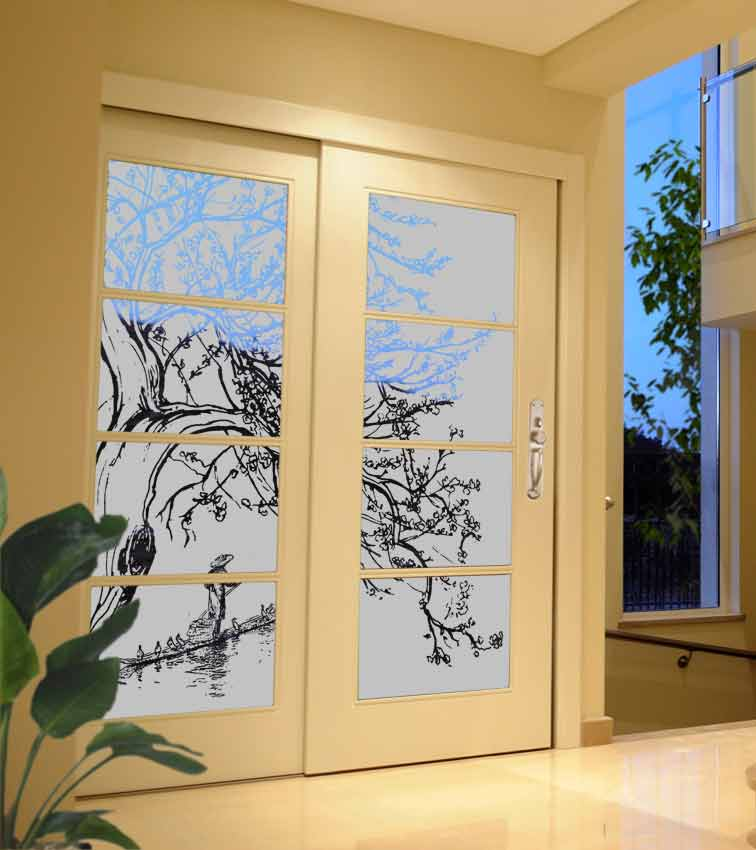 Asian Tree design sandblasted onto transparent frosted glass doors