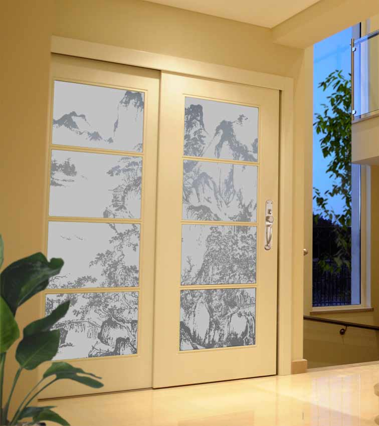 Asian mountain design sandblasted onto opaque frosted glass doors