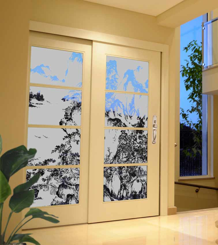 Asian mountain design sandblasted onto transparent frosted glass doors