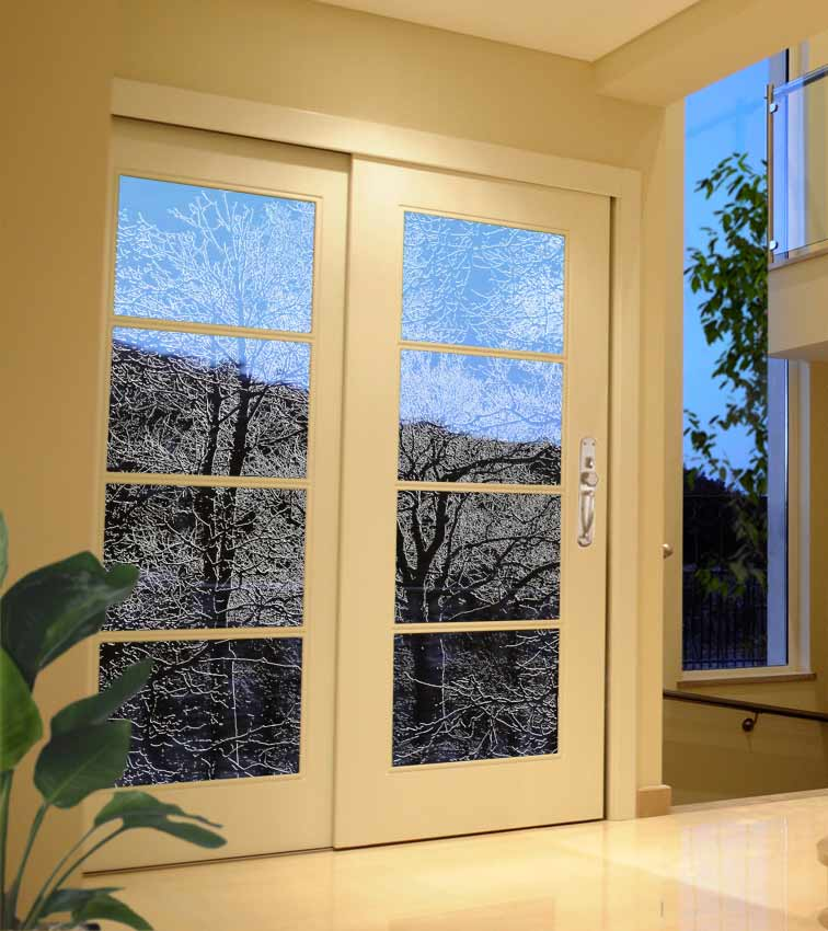 Tree design sandblasted onto transparent frosted glass doors