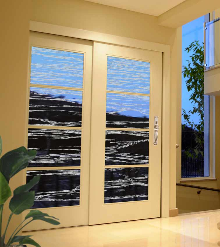 Waves design sandblasted onto transparent frosted glass doors
