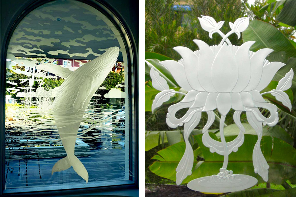 Frosted glass windows of a whale in a window and a Lilly Pad.