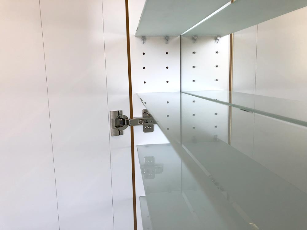 Cabinet Bathroom Lighted Mirror inside middle shelf view