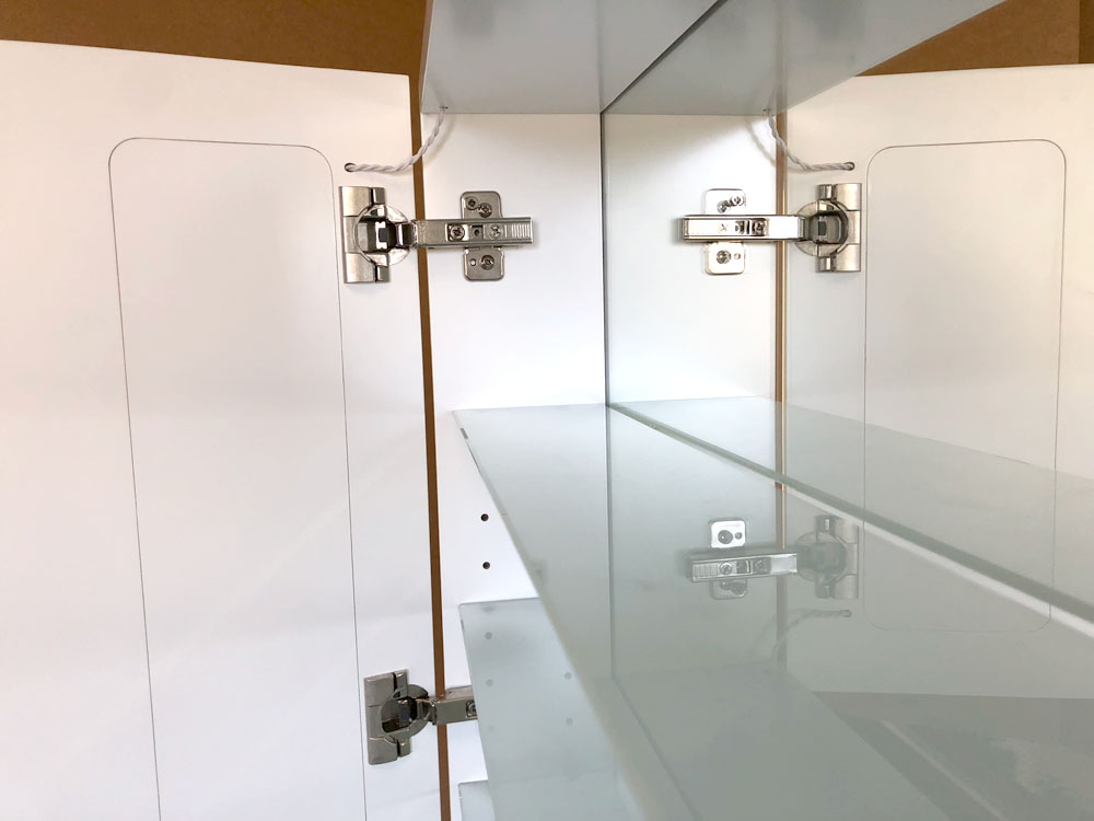 Cabinet Bathroom Lighted Mirror inside top shelf