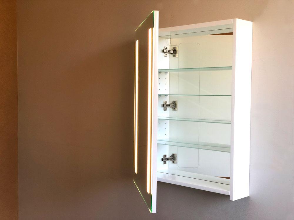 Cabinet Bathroom Lighted Mirror front view door open 50%