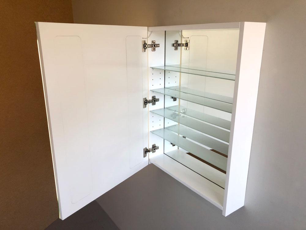 Cabinet Bathroom Lighted Mirror front view door open