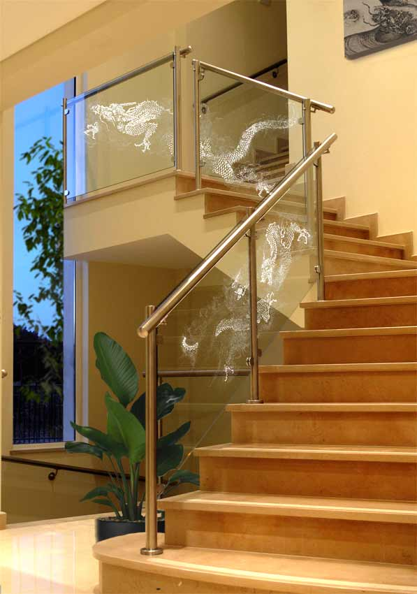 Chinese dragon frosted on to Glass Balustrade Panels