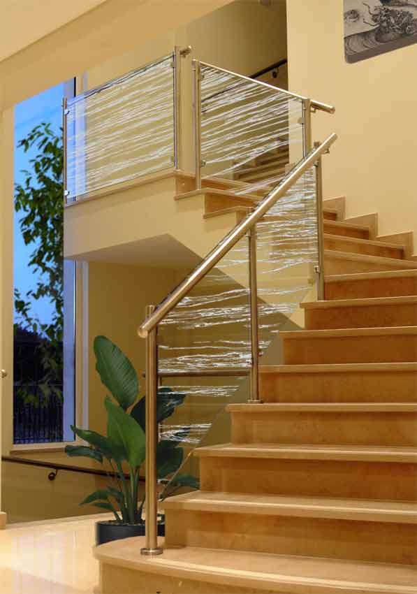 Waves frosted on to Glass Balustrade Panels