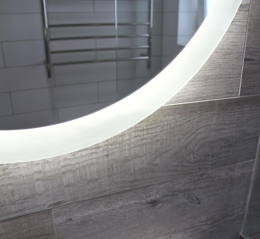 Round Reverb Bathroom Lighted Mirror
