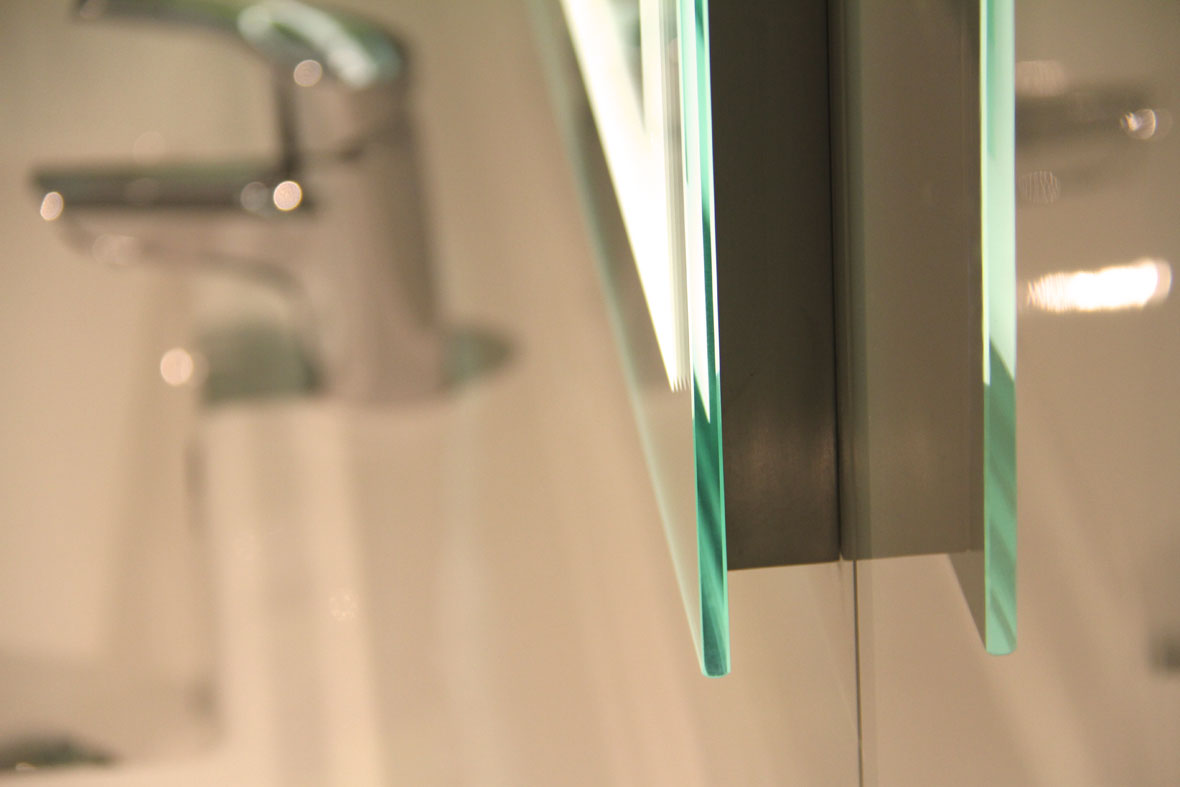 Verge Lighted Bathroom Mirror side view, showing the slim 20mm depth of the lightbox.