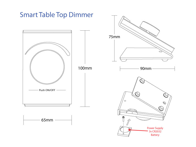 Specifications of the Smart Table Top Dimmer for a Lighted Mirror