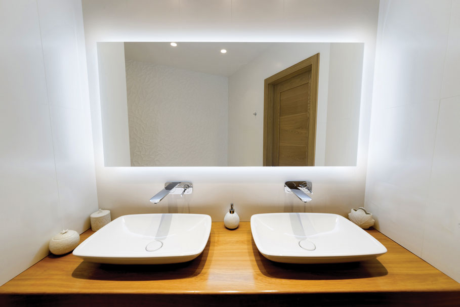 Halo Bathroom Lighted Mirror in bathroom above 2 sinks CLearlight Designs