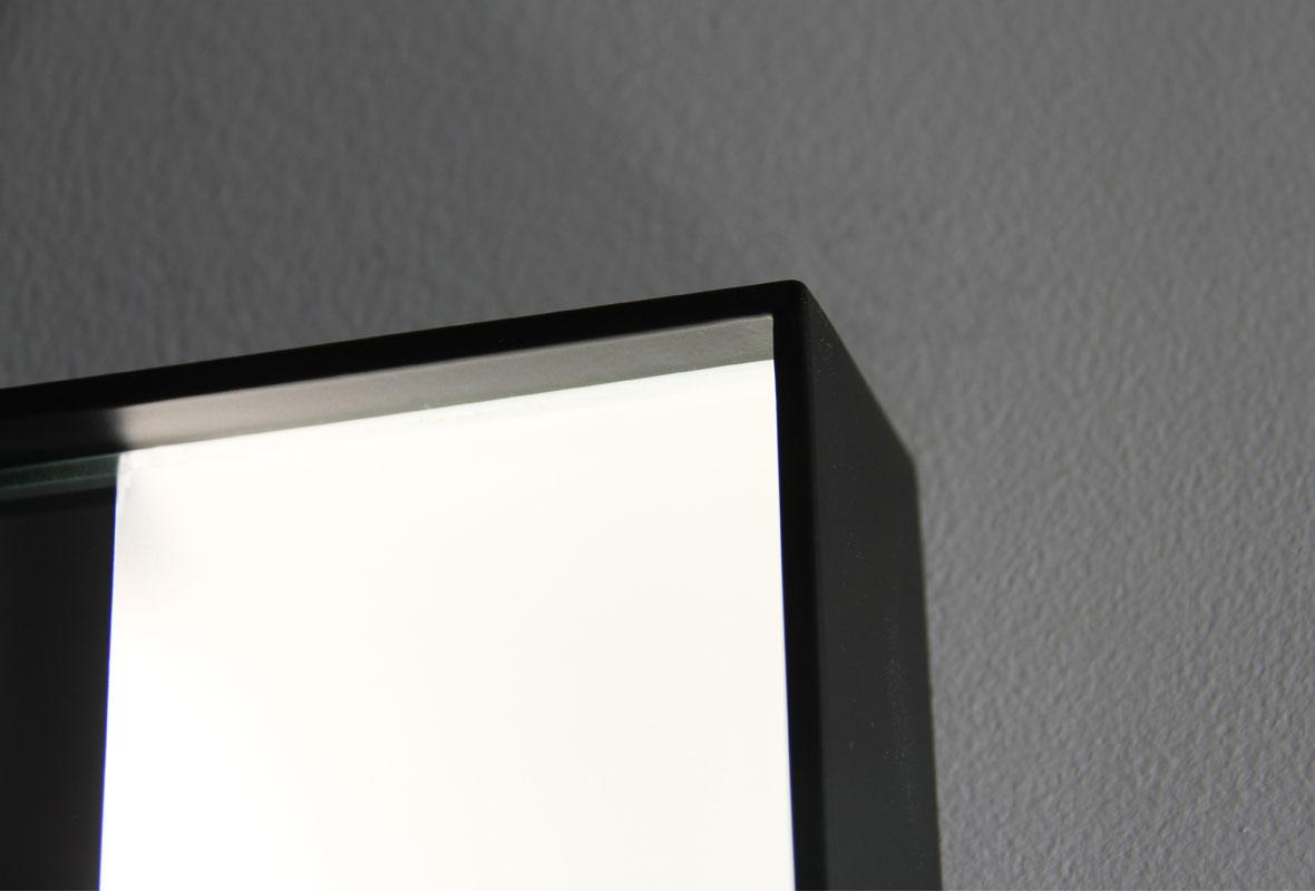 Weston lighted bathroom mirror top corner view